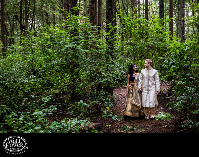 Engagement portrait walk in forest with Indian attire