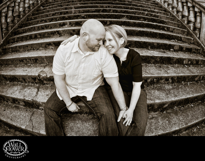 Engagement portrait on Spanish Steps in Tacoma