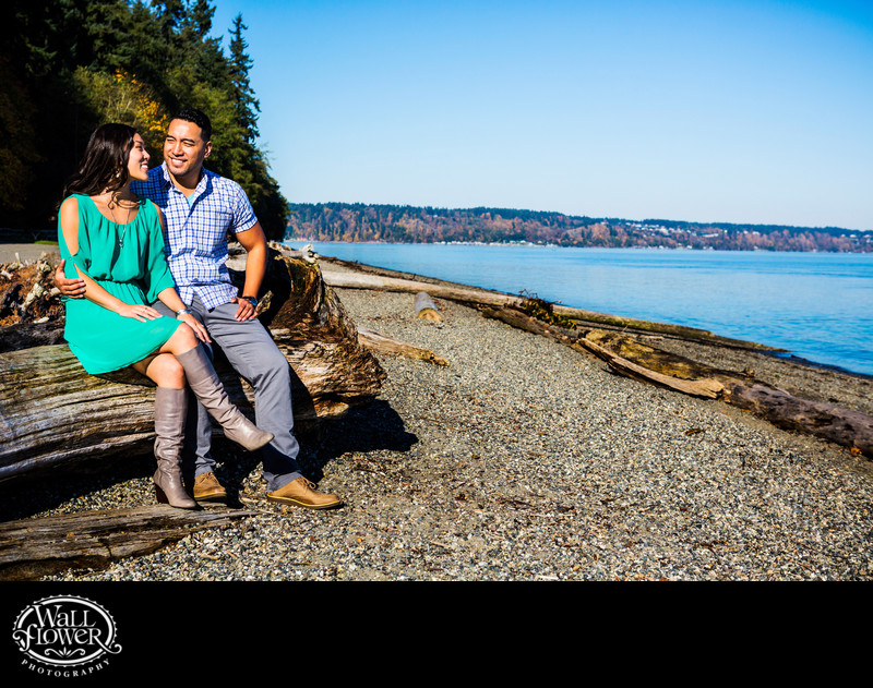 Engagement portrait at Owen Beach on a sunny morning