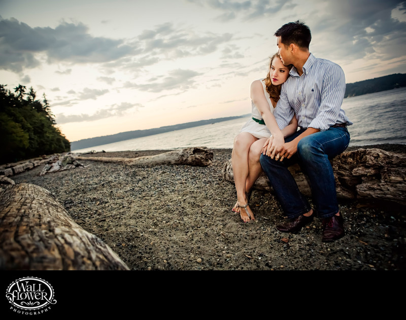 Engagement portrait at Owen Beach as dusk falls