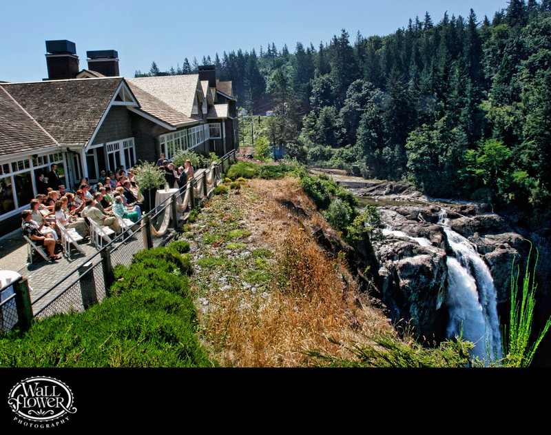 Wedding ceremony at Salish Lodge by Snoqualmie Falls