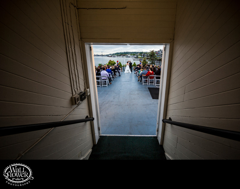 Wedding ceremony on MV Skansonia deck, from staircase