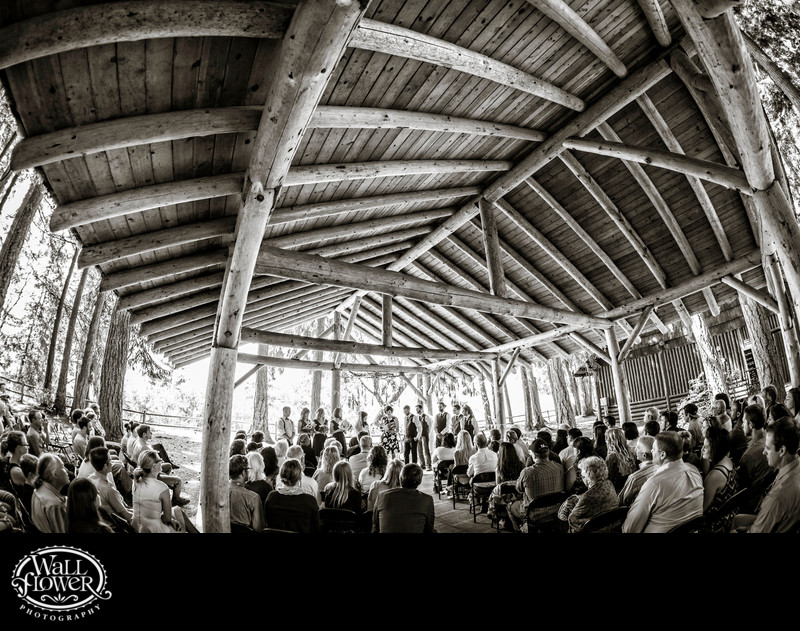 Wedding ceremony under Kitsap Memorial log pavilion