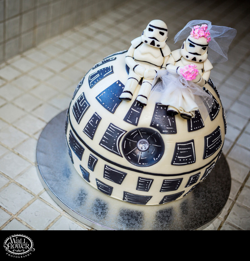 Detail of Death Star groom's cake with Stormtroopers