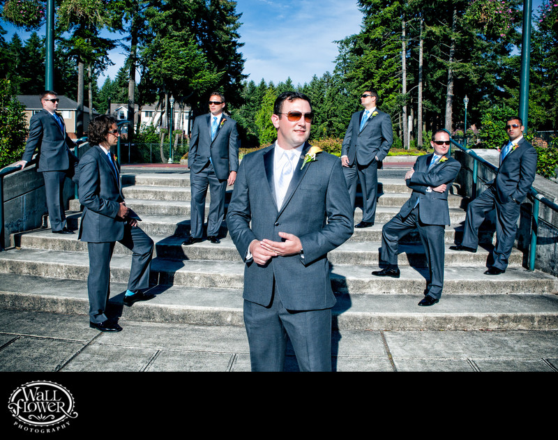 Groom, groomsmen in sunglasses pose at Chambers Bay