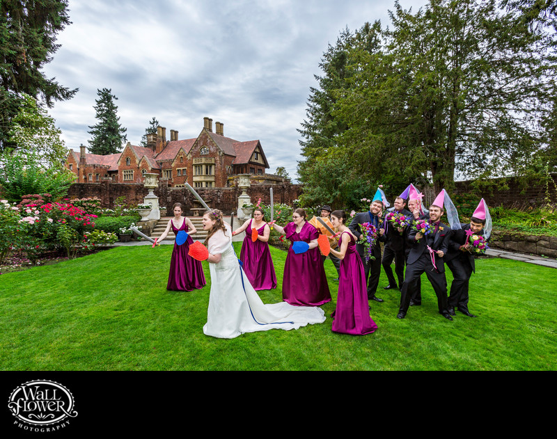 Wedding party in medieval battle at Thornewood Castle