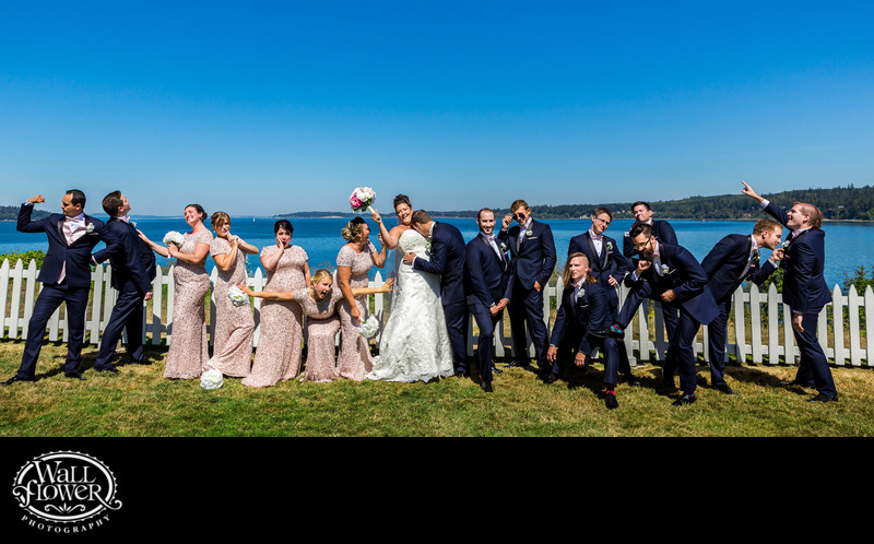 Bridesmaids and groomsmen strike funny poses