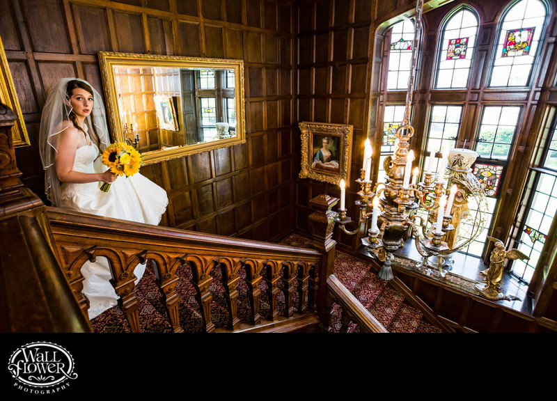 Nervous bride descends Thornewood Castle staircase