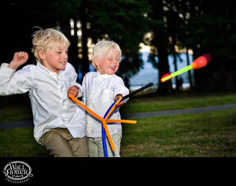 Ring bearers fire stomp rocket during wedding reception at Kitsap Memorial State Park