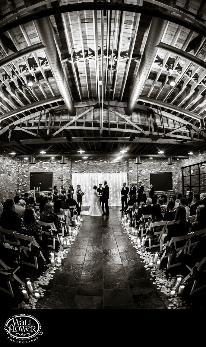 Fisheye photo of wedding ceremony in Historic 1625