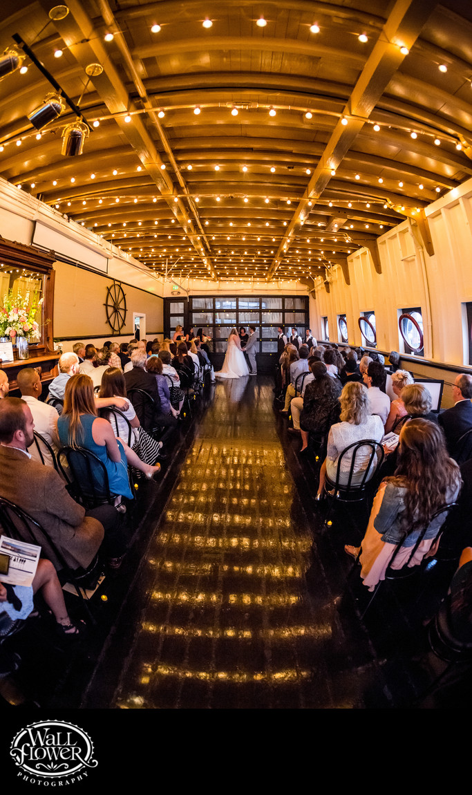 Fisheye photo of wedding ceremony inside MV Skansonia