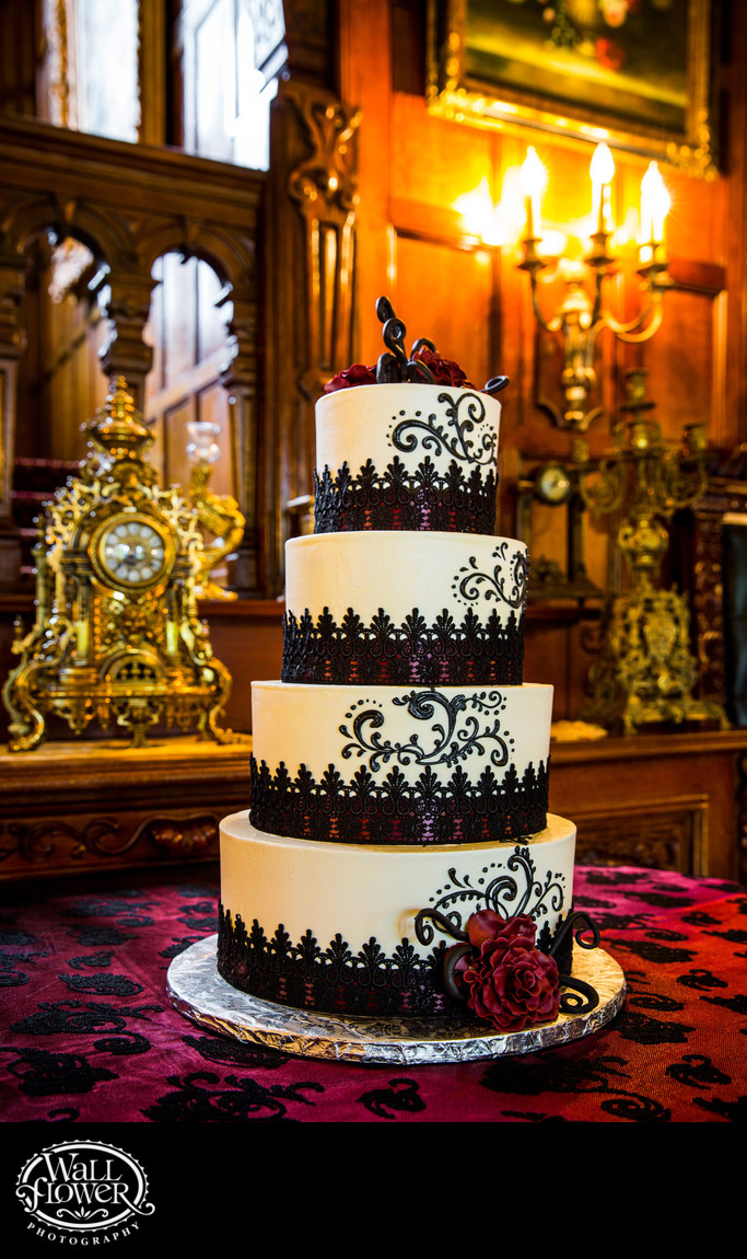 Detail of four-tier wedding cake at Thornewood Castle