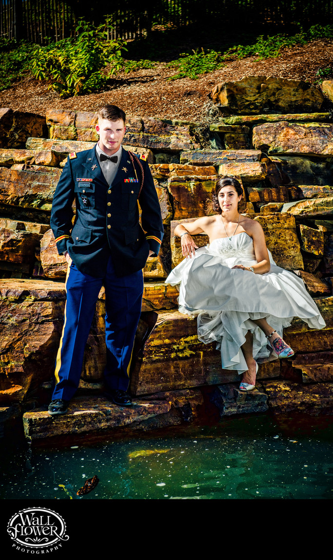 Bride and groom on rocks at Chinese Reconciliation Park