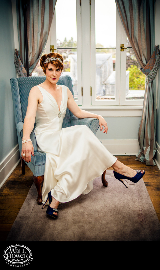 Bride in 1920s era dress sits at Weyerhaeuser Estate