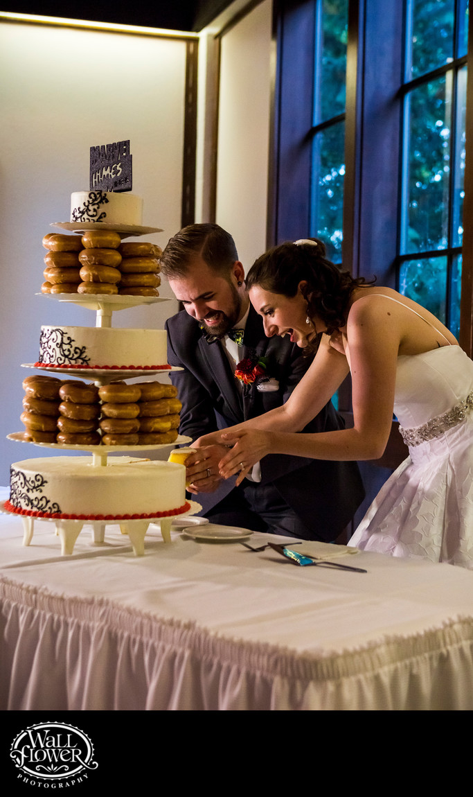 Bride and groom cut their unique wedding cake