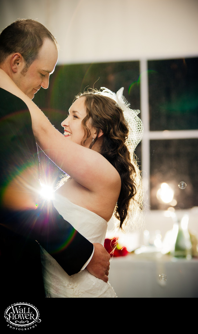 Bride and groom enjoy first dance at Chambers Bay