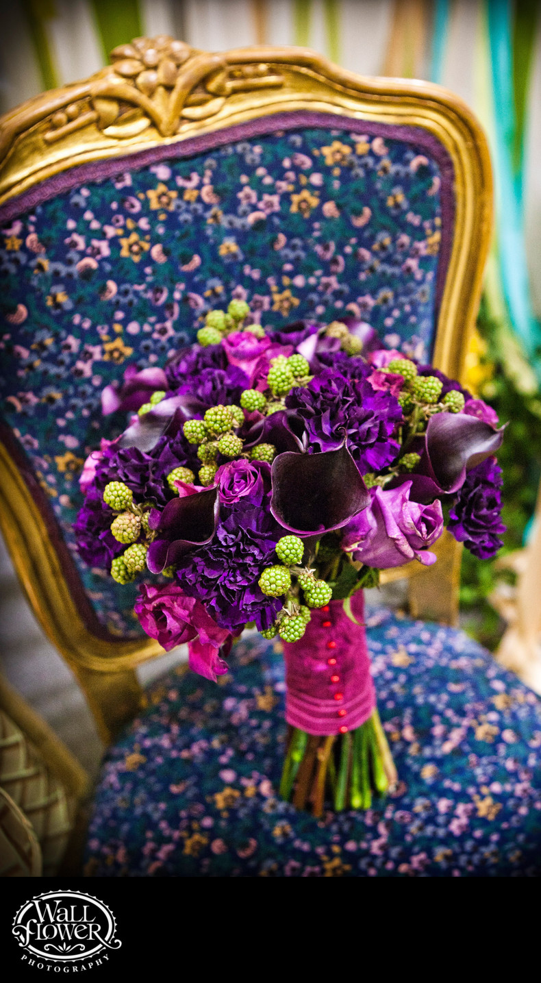 Detail of bridal bouquet on decorative chair