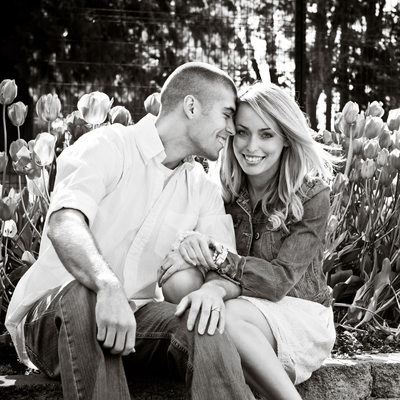 Engagement portrait by tulips at Point Defiance Park