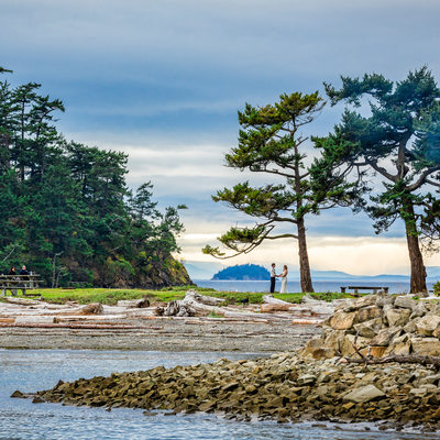 Environmental portrait at Sucia Island wedding