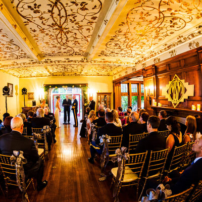 Fisheye photo of Weyerhaeuser Estate wedding ceremony