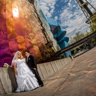 Bride and groom at colorful Experience Music Project