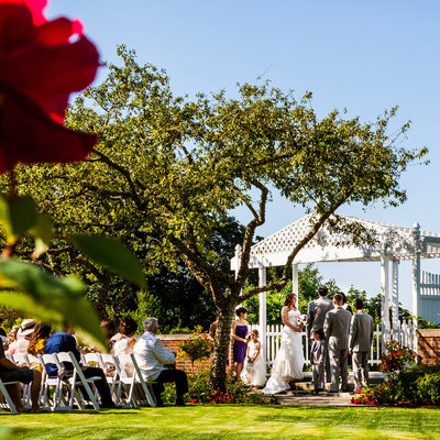Wedding ceremony in Weyerhaeuser Estate rose garden