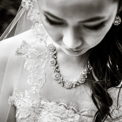 Detail of bride's necklace, dress and veil