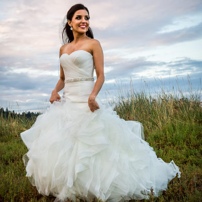 Bride walks in Olalla seagrass near Edgewater House