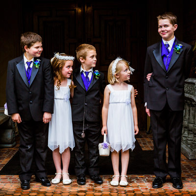 Ring bearers, flower girls at Thornewood Castle wedding