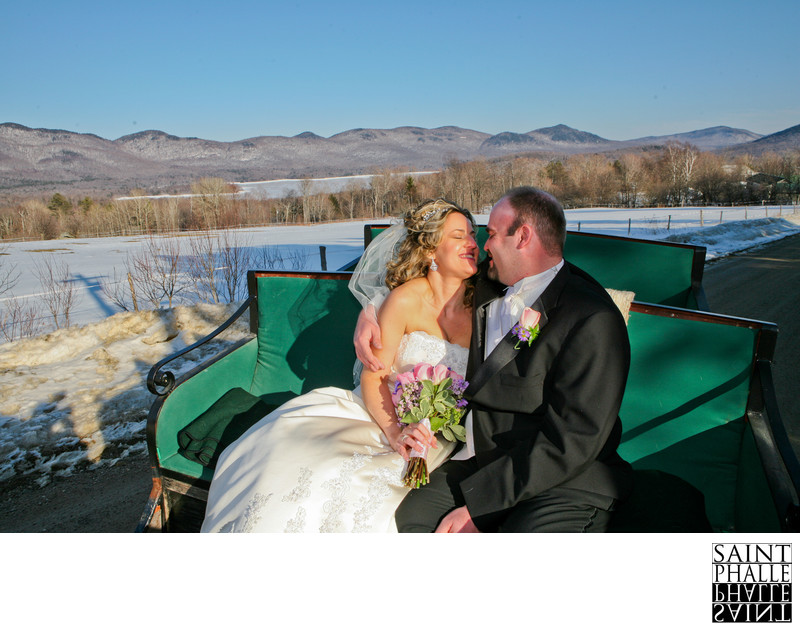 Mountain Top Inn Wedding Winter Sleigh Ride Gold Light
