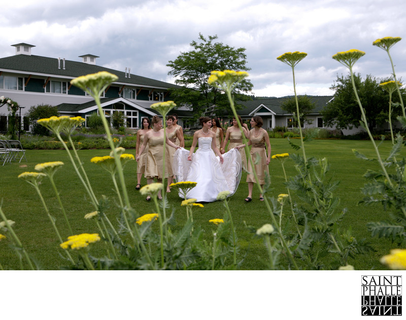Stoweflake Wedding Bride Bridesmaids Walking In Garden