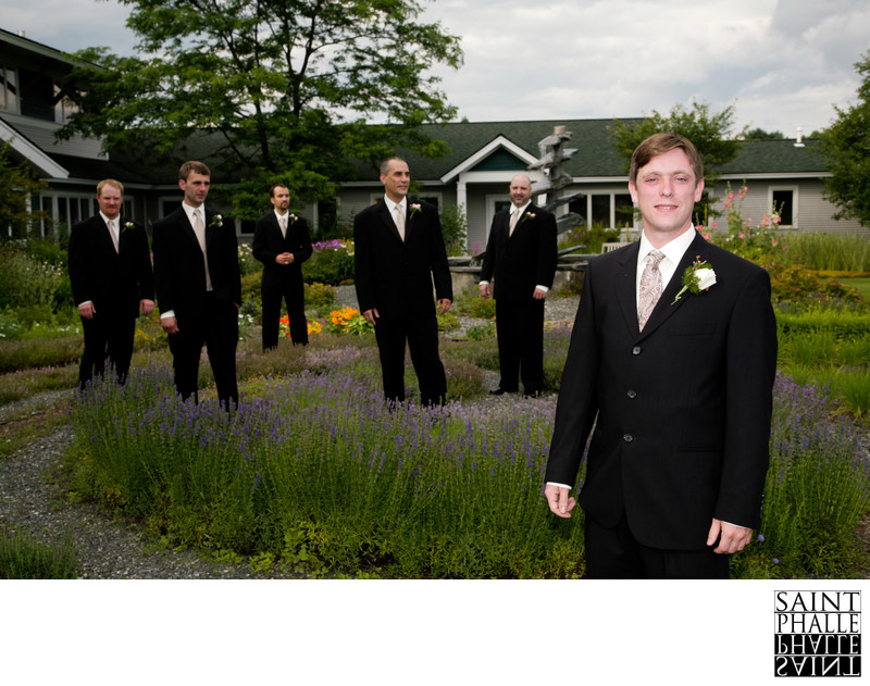 Stoweflake Wedding Groom Groomsmen In Sculpture Garden