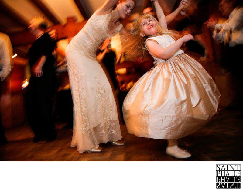 Mountain Top Inn Winter Wedding Bride Flower Girl Dance