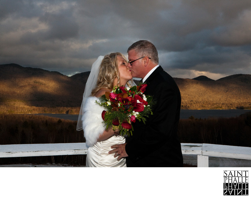 Mountain Top Inn Winter Wedding Balcony Kiss Scenic