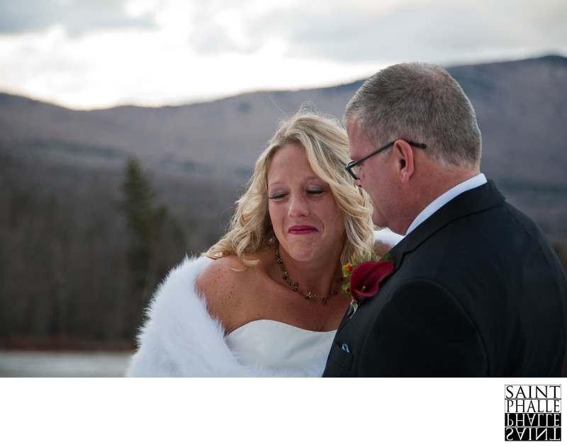 Mountain Top Inn Winter Wedding First Look Emotion Bride