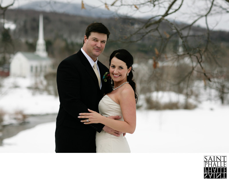 Bride and Groom Stowe Community Church Vermont Photo