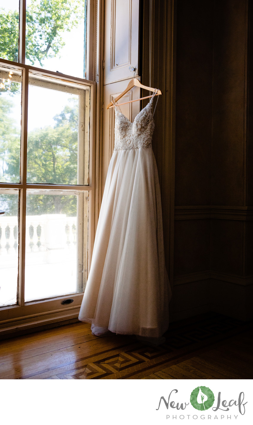 Wedding Dress at Glen Foerd on the Delaware