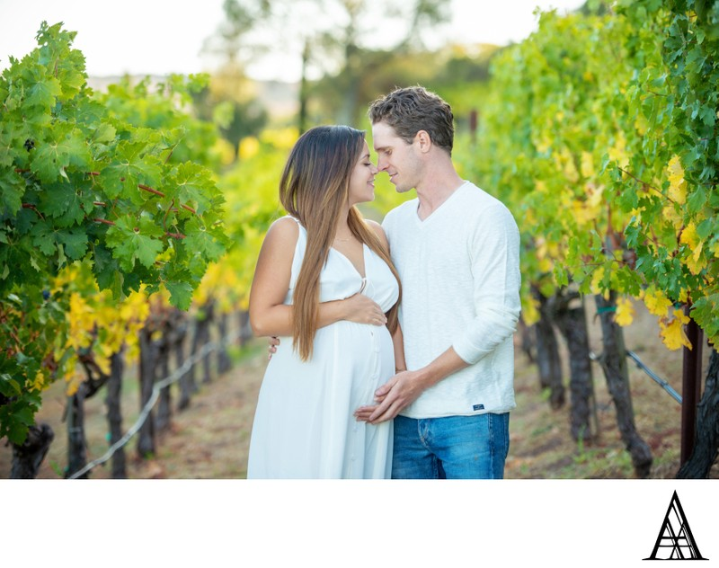 Couple Maternity Vineyard Photography in Napa