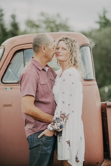 Rustic Truck Engagement Photography Flower Farm Loomis