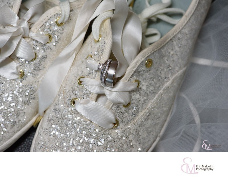 Kate Spade sequined wedding sneakers with wedding rings