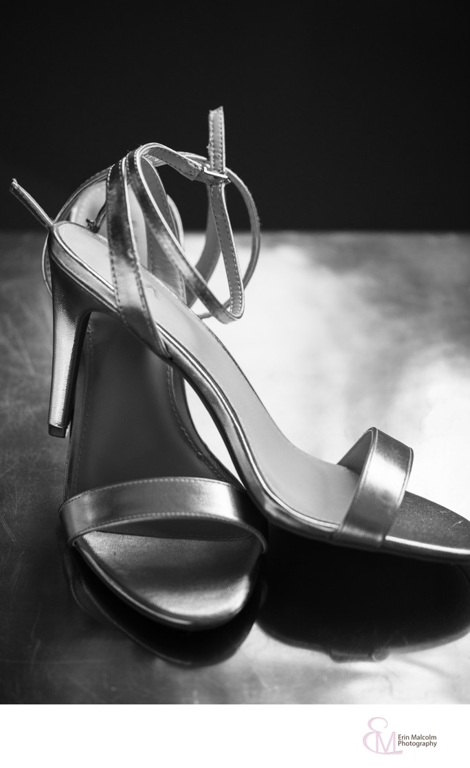 Silver wedding shoes, bridal detail