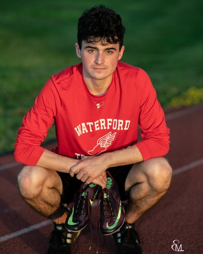Senior portrait, Waterford HS track, CP photographer