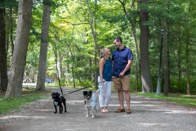 Bayard Cutting Arboretum Engagement Photos with Dogs