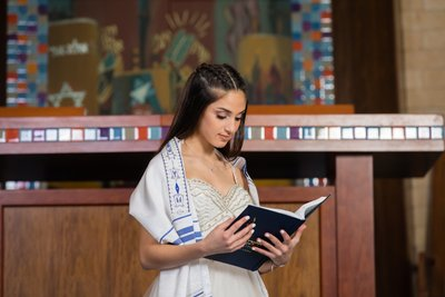 Formal Bat Mitzvah temple portrait at Temple Avodah