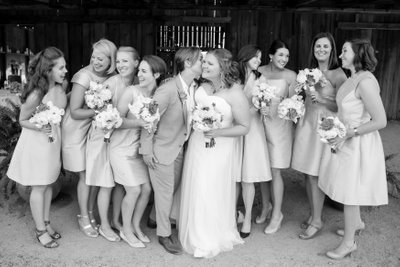 two brides with bridal party