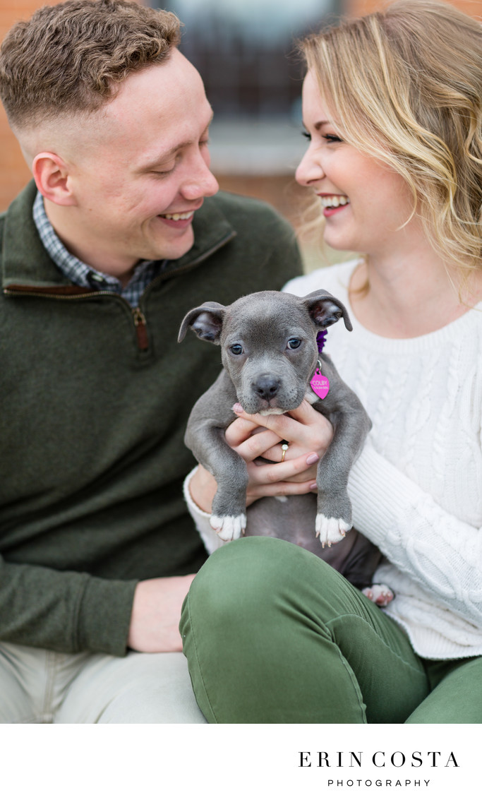 Puppy Engagement Photos Downtown Wilmington
