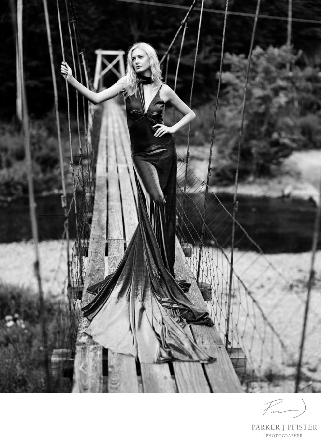 long dress on bridge