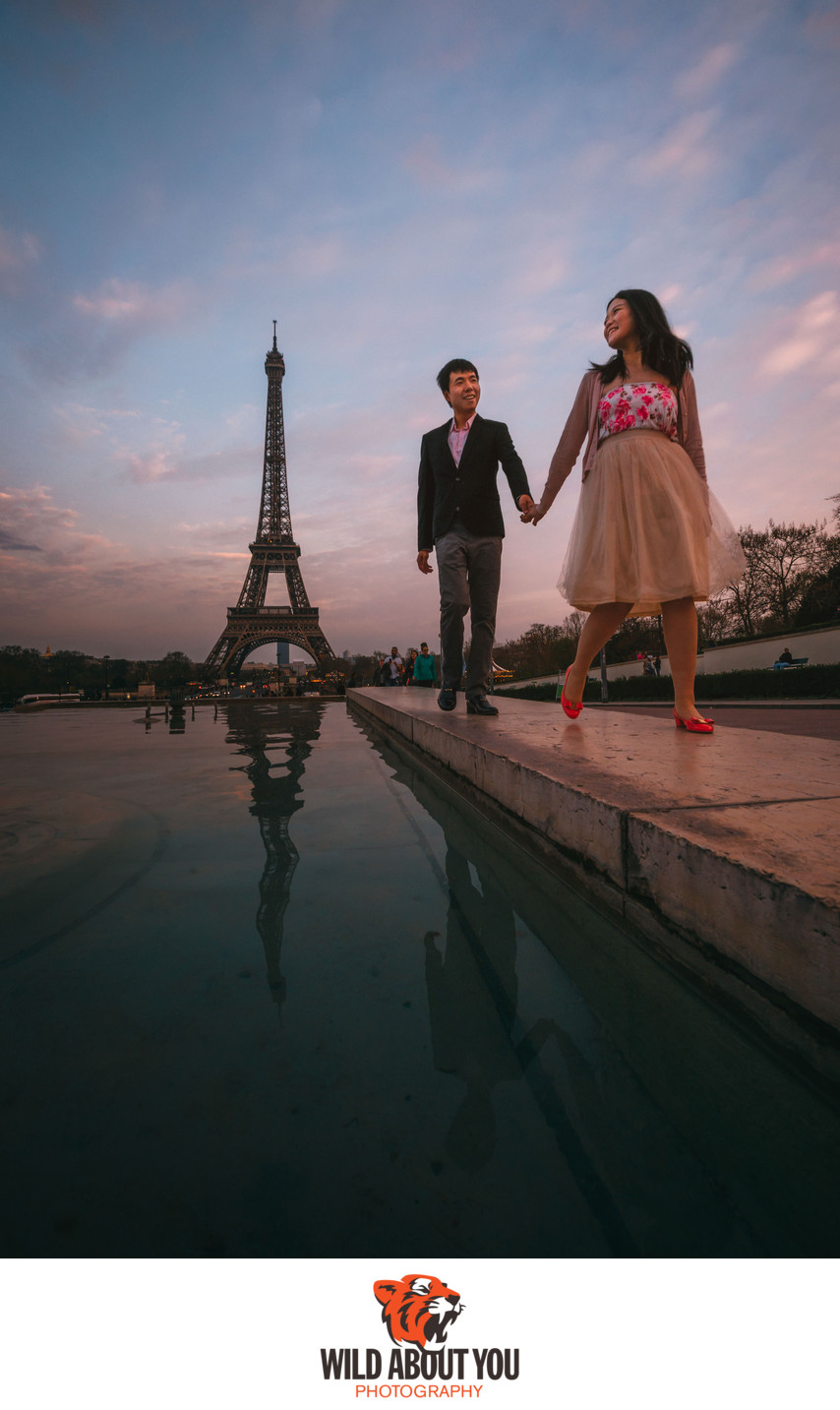 fun paris engagement photography