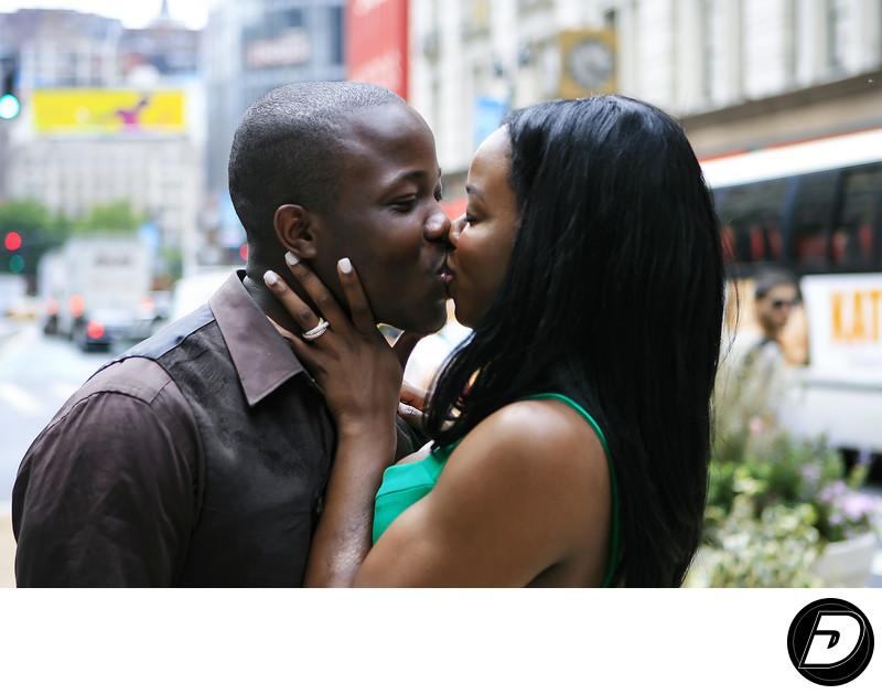 Seventh Avenue Kiss NYC Engagement Photographer