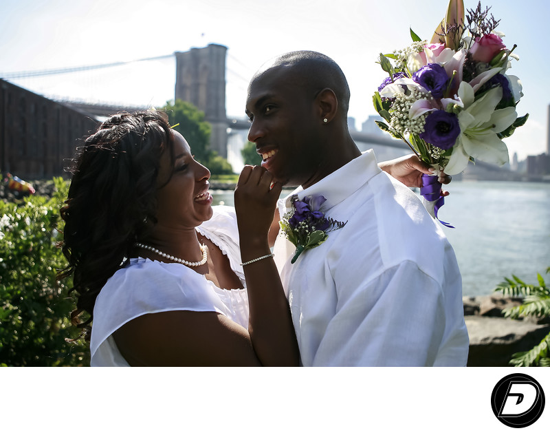 Brooklyn Bridge Couple Wedding Photographer
